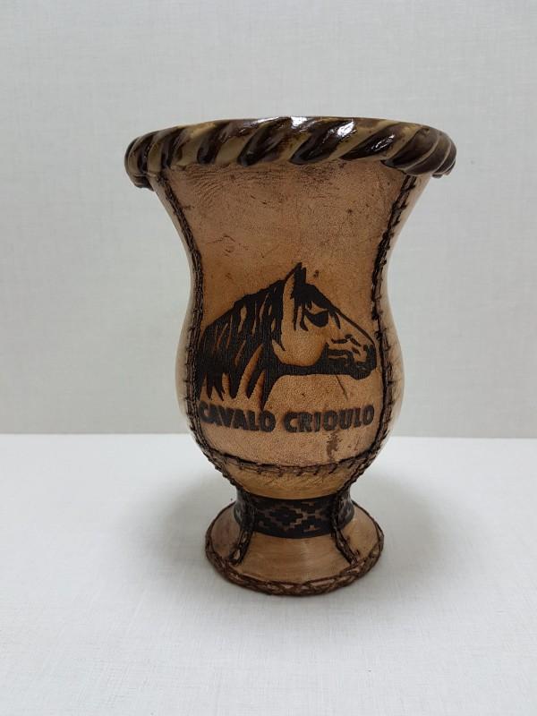 Cuia Couro Atanado Cavalo Crioulo